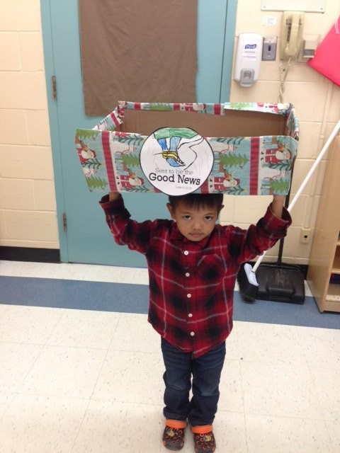 Sent to be the Good News - Kinders deliver goods for st. Luke's Supper Table